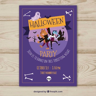 Purple poster of halloween party with characters