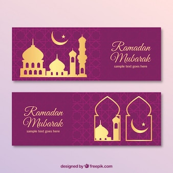 Purple ramadan banners with golden details