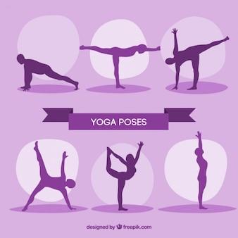 Purple silhouttes yoga exercises
