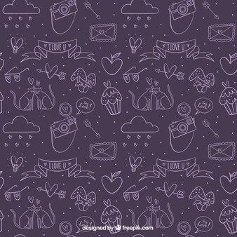 Purple sketch of valentine sketches