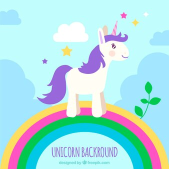 Purple unicorn on a rainbow