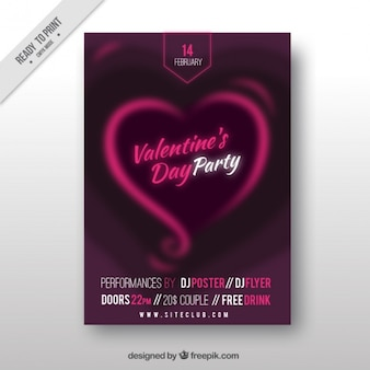 Purple valentine's day poster with abstract heart