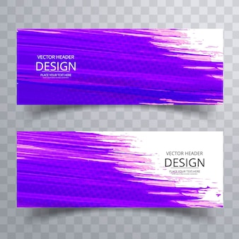 Purple watercolor banners