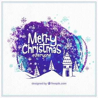 Purple watercolor christmas background