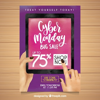 Purple watercolor poster for cyber monday