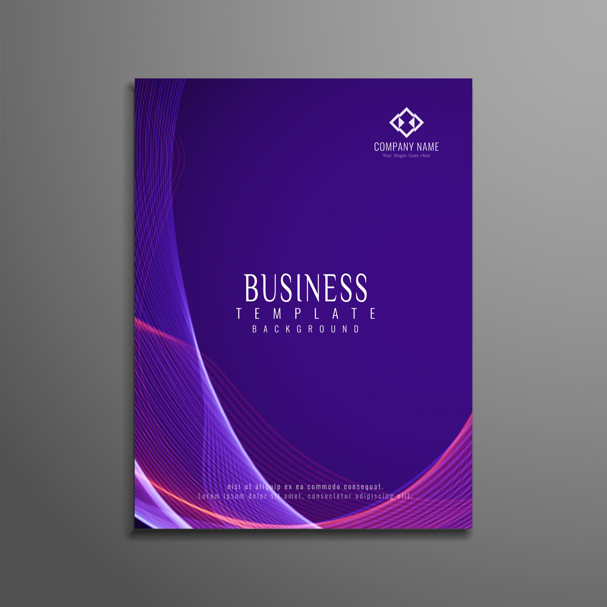 Purple wavy business brochure template