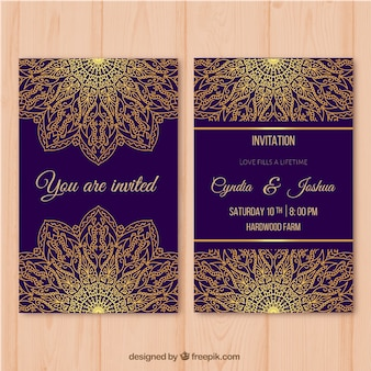 Purple wedding card with golden mandala