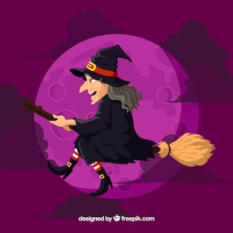 Purple witch background with broom