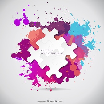 Puzzle pieces and paint splashes background