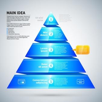 光沢のある質感を持つピラミッド型青インフォグラフィック