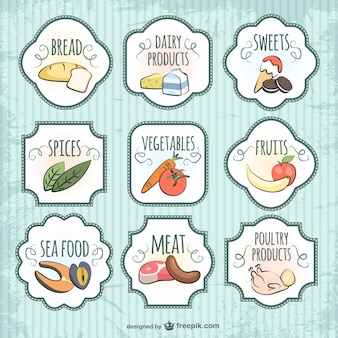 Quality badges food vector