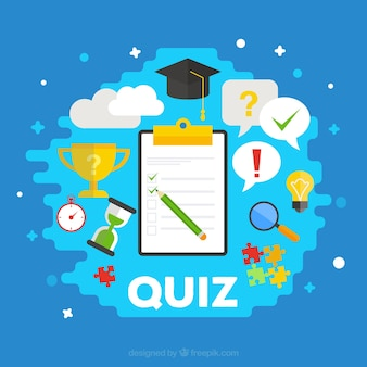 Quiz background with items in flat design