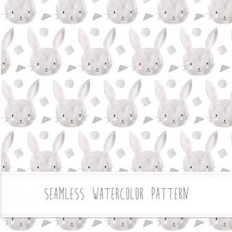 ウサギの水彩パターン