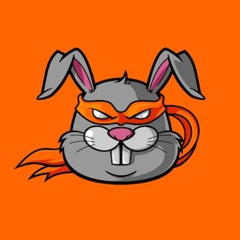 ウサギは忍者としてマスクを着て