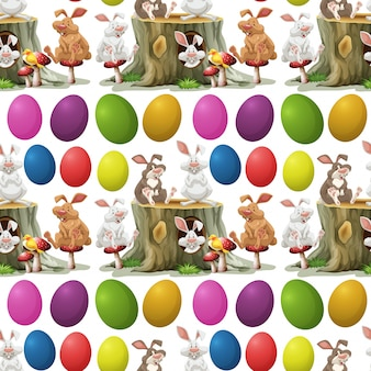 Rabbits and colorful eggs