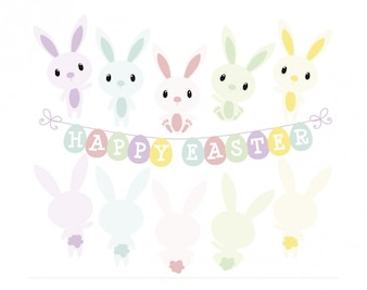 Rabbits in happy easter