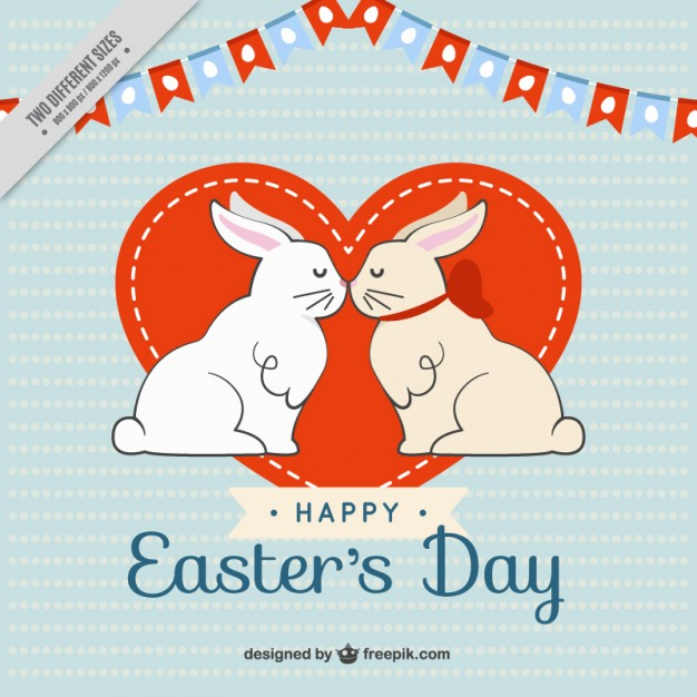 Rabbits kiss easter's day