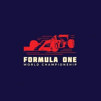 青い背景上のレーシングカーのロゴ