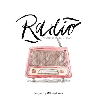 Radio background in watercolor style