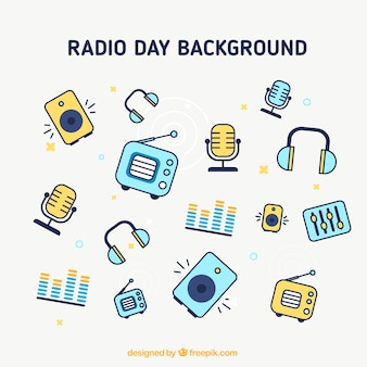 Radio day icons background