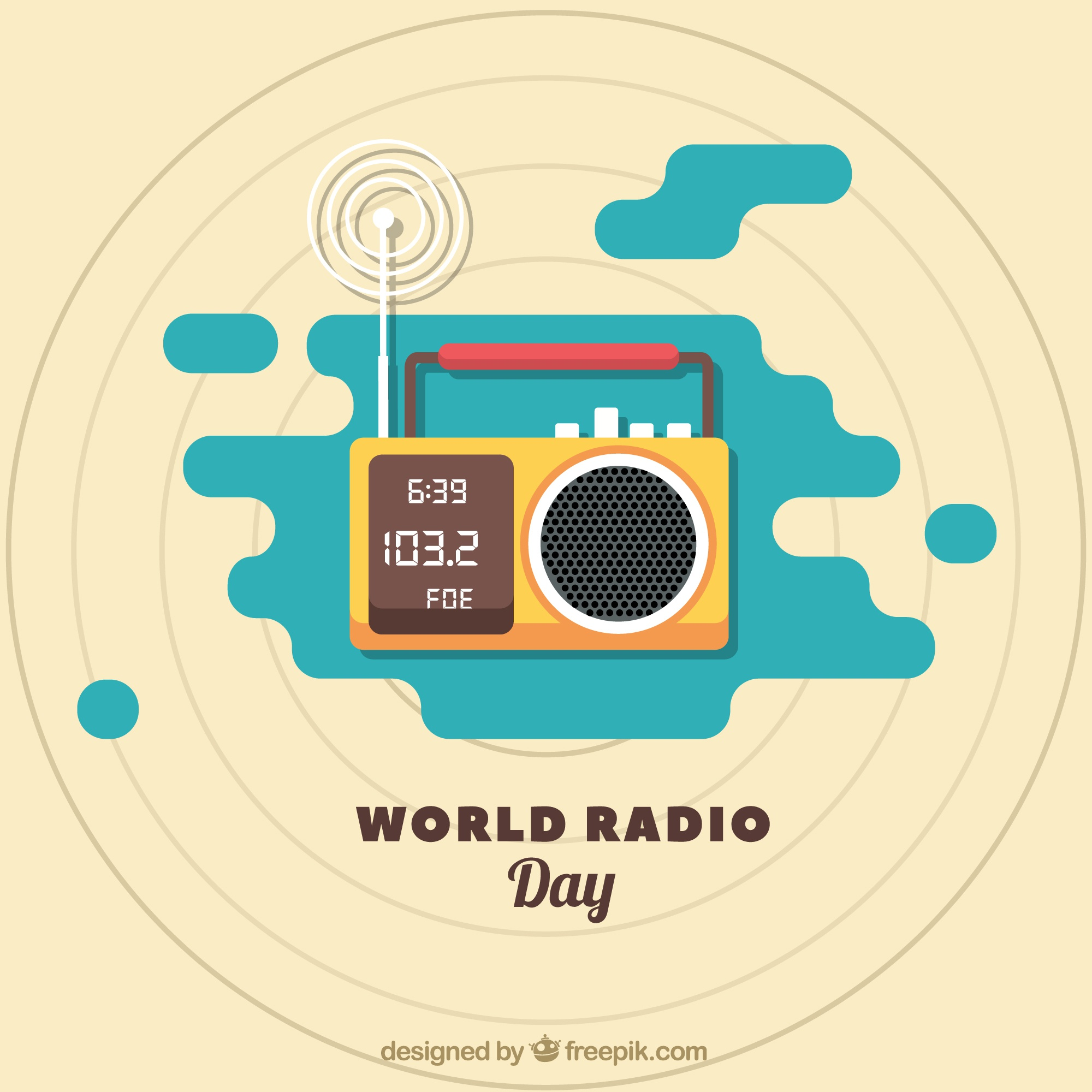 Radio world day background in flat design