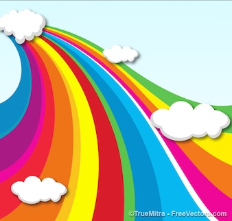 Rainbow clouds backgrounds vector set