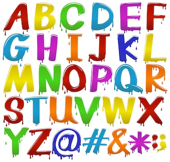 Rainbow coloured big letters of the alphabet on a white background