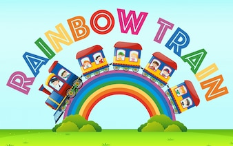 Rainbow train with kids riding on it