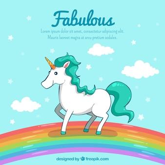 Rainbow with unicorn background