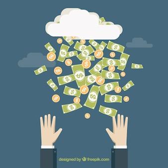 Raining money background