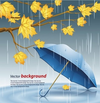 Rainy umbrella autumn leaves vector background