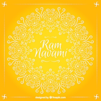 Ram Navami yellow background with ornamental shapes