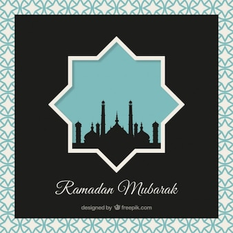 Ramadan background with black mosque silhouette