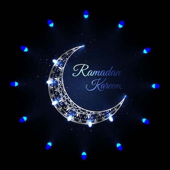 Ramadan background with blue moon