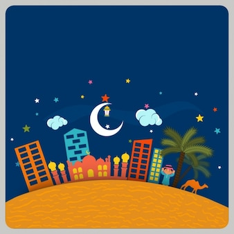 Ramadan background with buildings and mosque in flat design