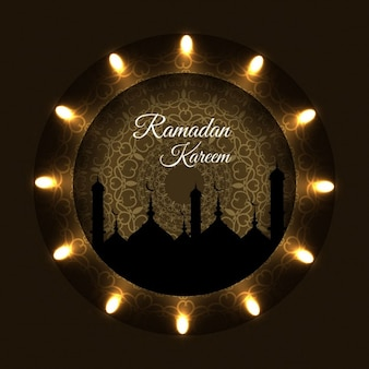 Ramadan background with golden lights