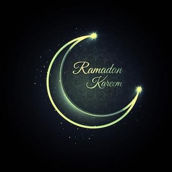 Ramadan background with green moon
