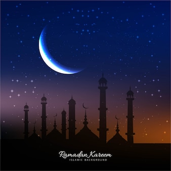 Ramadan background with mosque and moon