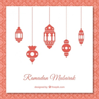 Ramadan background with red lamps