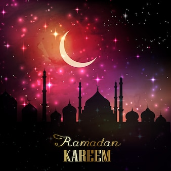 Ramadan background with silhouettes of mosques