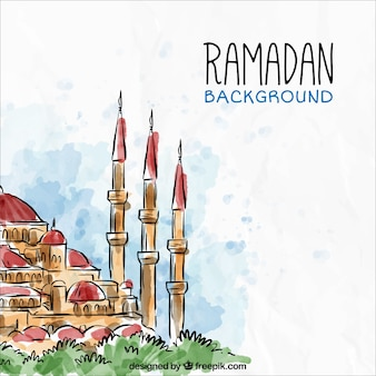 Ramadan background with watercolor landscape