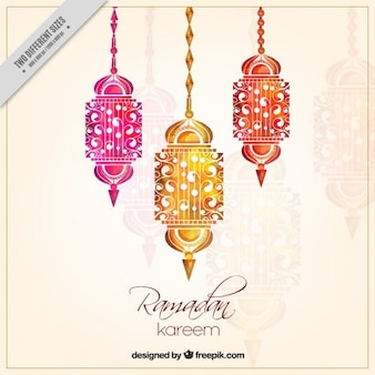 Ramadan background with watercolor lanterns decoration