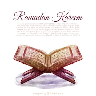 Ramadan background with watercolor sacred book