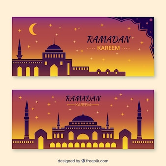 Ramadan banner with nocturnal design
