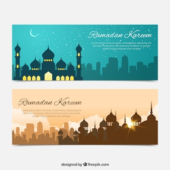 ramadan banners of beautiful landscapes