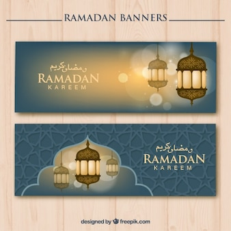Ramadan banners with cute lanterns