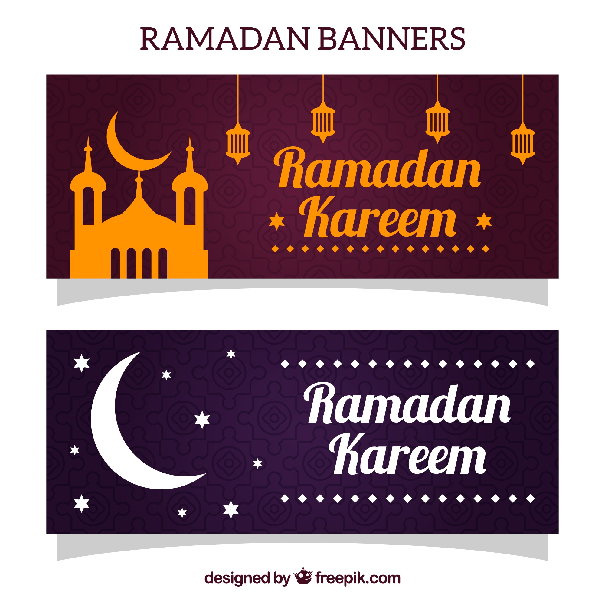 Ramadan banners with mosque and moon