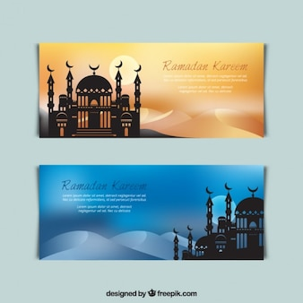Ramadan banners with mosque