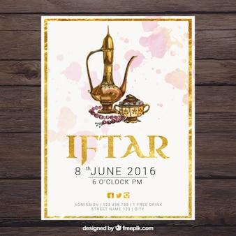Ramadan invitation in watercolor effect