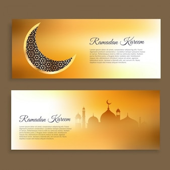Ramadan kareem and eid banners in golden colors